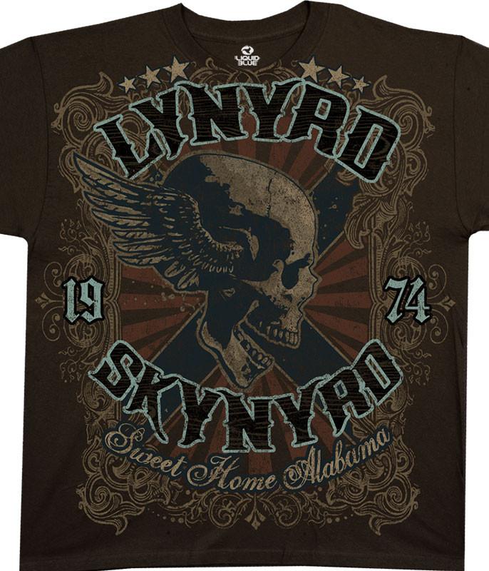 Lynyrd Skynyrd Sweet Home Alabama Brown Athletic T-Shirt Tee Liquid Blue