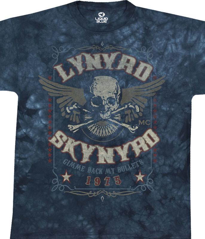 Lynyrd Skynyrd Gimme Back My Bullets Tie-Dye T-Shirt Tee Liquid Blue