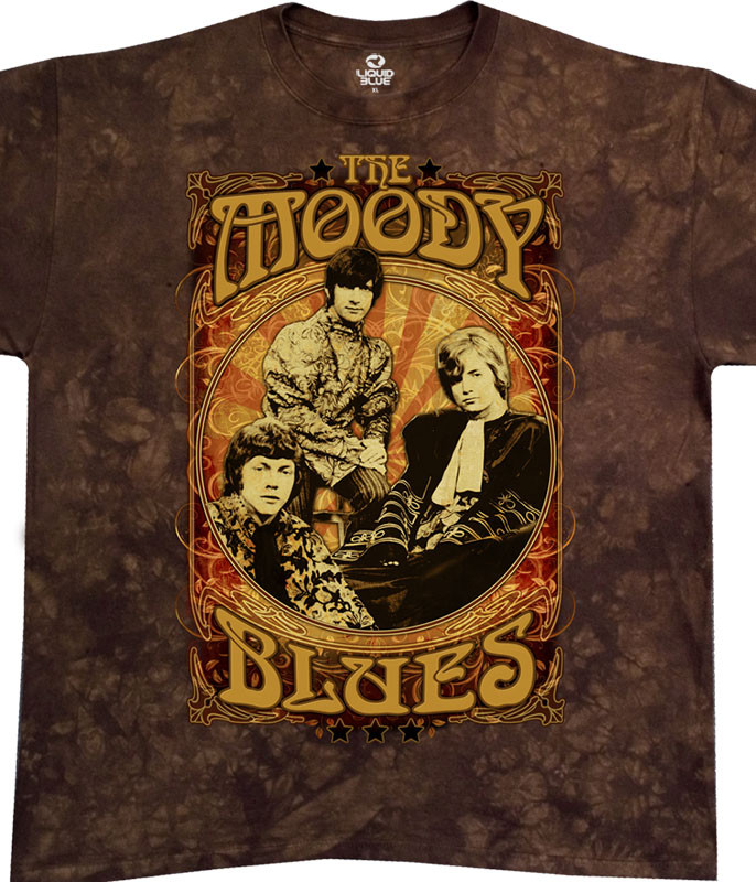 Moody Blues Vintage Poster Tie-Dye T-Shirt Tee Liquid Blue