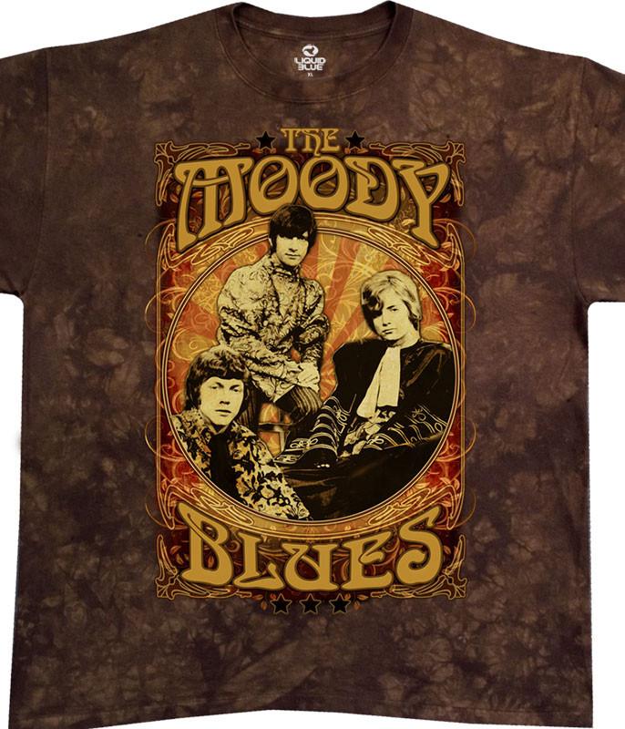 Moody Blues Vintage Poster Tie-Dye T-Shirt Tee Liquid Blue