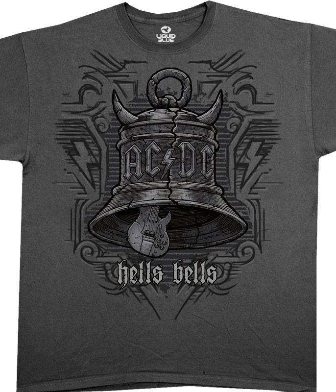 AC/DC Big Bells Grey Athletic T-Shirt Tee Liquid Blue