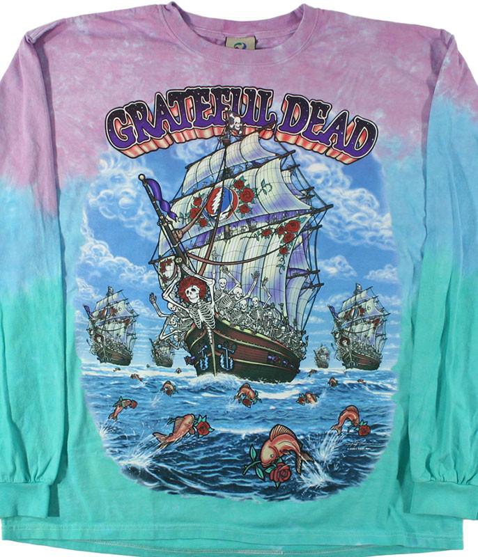Grateful Dead Ship Of Fools Tie-Dye Long Sleeve T-Shirt Tee Liquid Blue