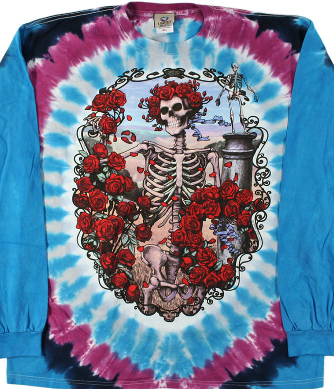 Grateful Dead 30th Anniversary Tie-Dye Long Sleeve T-Shirt Tee Liquid Blue