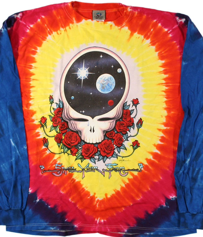 Grateful Dead Space Your Face Tie-Dye Long Sleeve T-Shirt Tee Liquid Blue