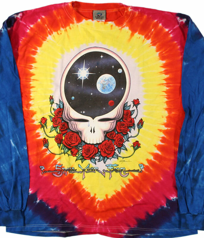 Grateful Dead Space Your Face Tie-Dye Long Sleeve T-Shirt Tee Liquid Blue