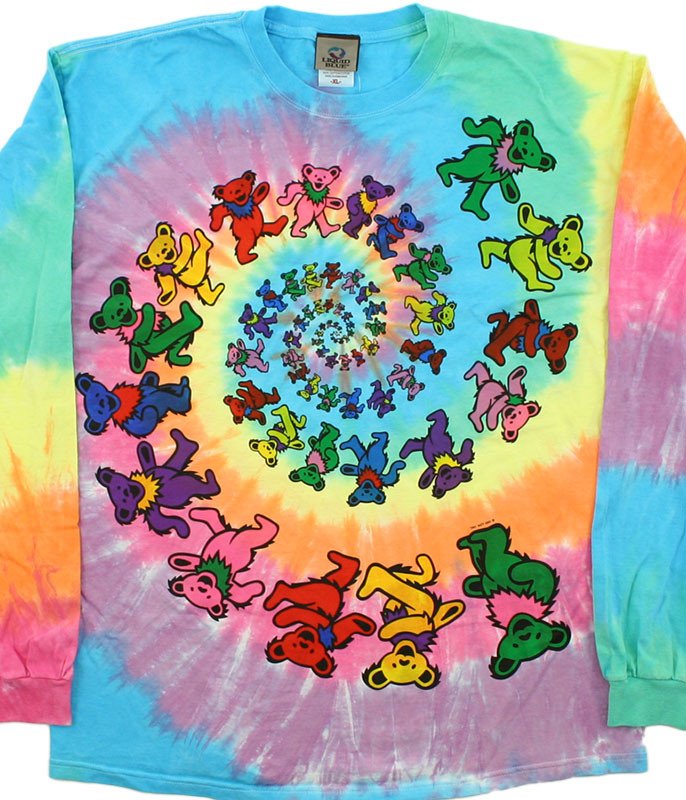 Grateful Dead Spiral Bears Tie-Dye Long Sleeve T-Shirt Tee Liquid Blue