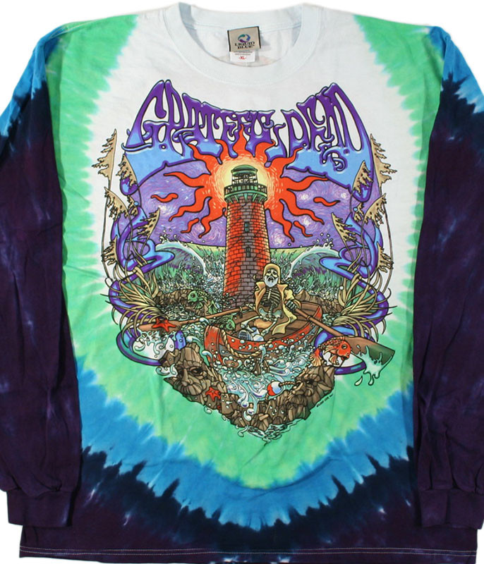 Grateful Dead Watch Tower Tie-Dye Long Sleeve T-Shirt Tee Liquid Blue