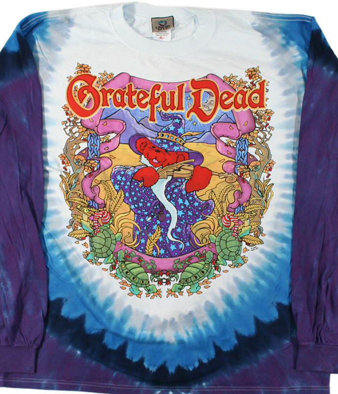 Grateful Dead Terrapin Moon Tie-Dye Long Sleeve T-Shirt Tee Liquid Blue
