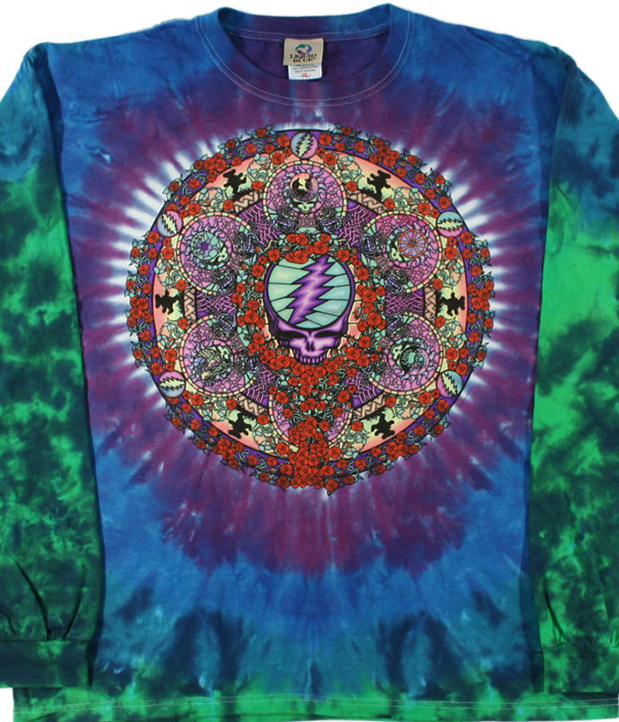 Grateful Dead Celtic Mandala Tie-Dye Long Sleeve T-Shirt Tee Liquid Blue