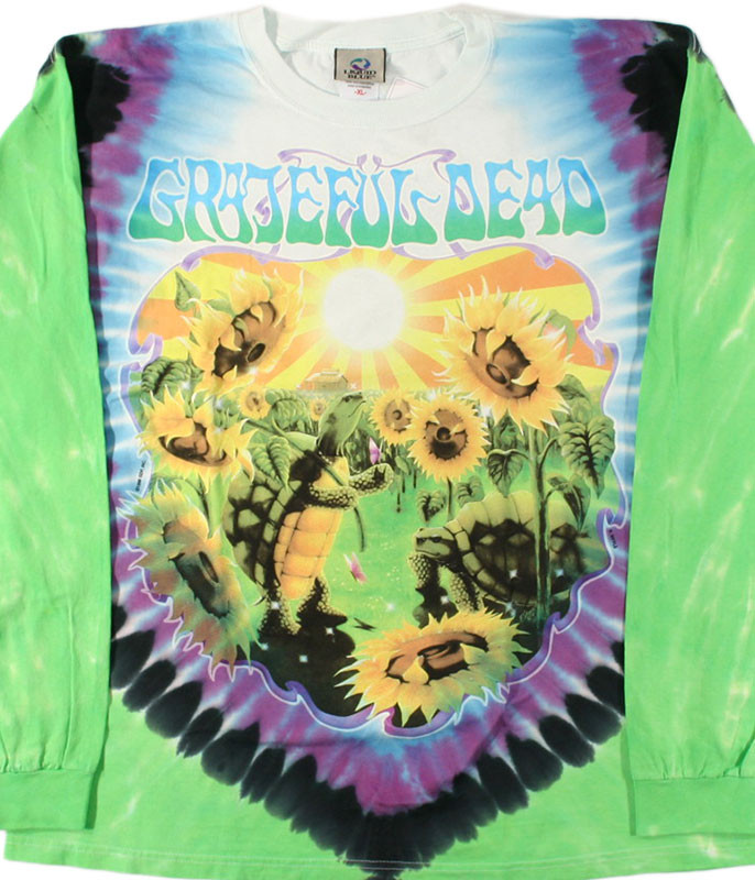 Grateful Dead Sunflower Terrapin Tie-Dye Long Sleeve T-Shirt Tee Liquid Blue