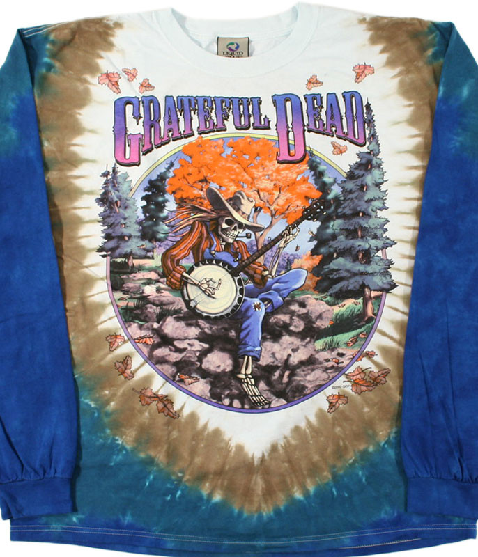 Grateful Dead Banjo Tie-Dye Long Sleeve T-Shirt Tee Liquid Blue