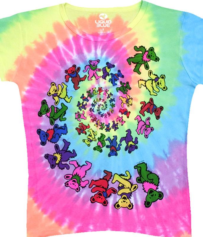 Spiral Bears Womens Tie-Dye Juniors Long Length T-Shirt