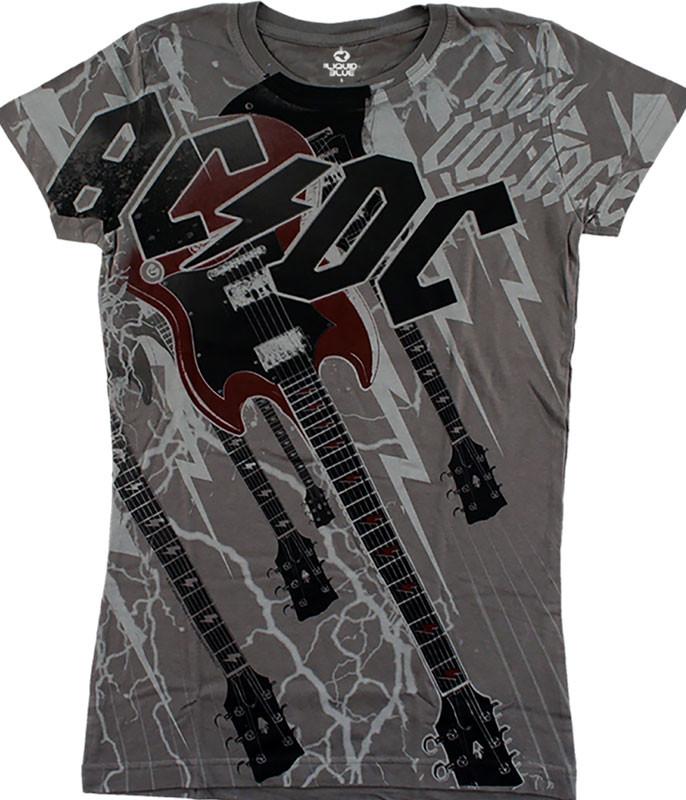 AC/DC High Voltage Grey Juniors Long Length T-Shirt Tee Liquid Blue