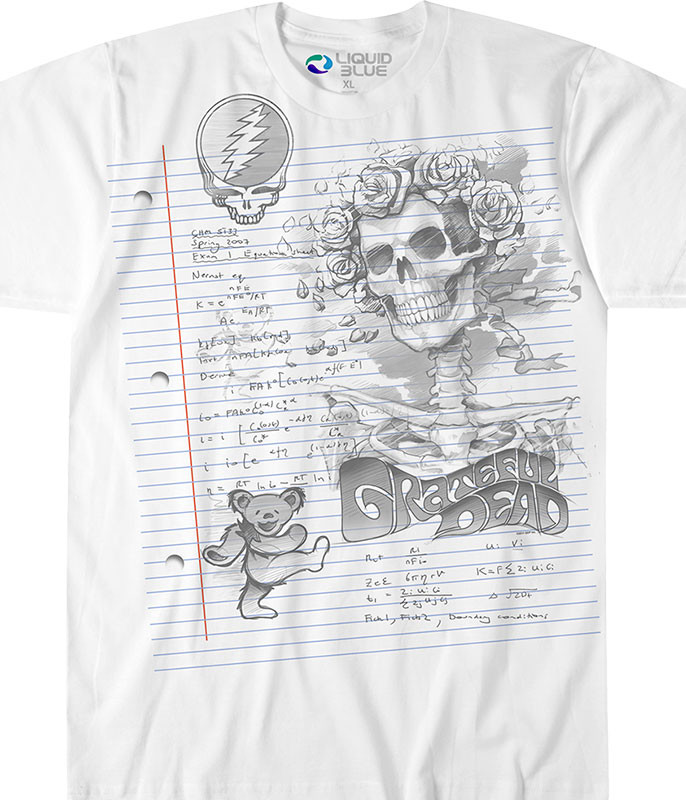 Grateful Dead GD Sketch White Athletic T-Shirt Tee Liquid Blue