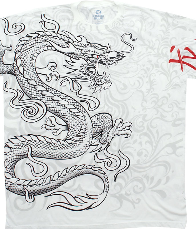 Asian Art White Dragon White Athletic T-Shirt Tee Liquid Blue