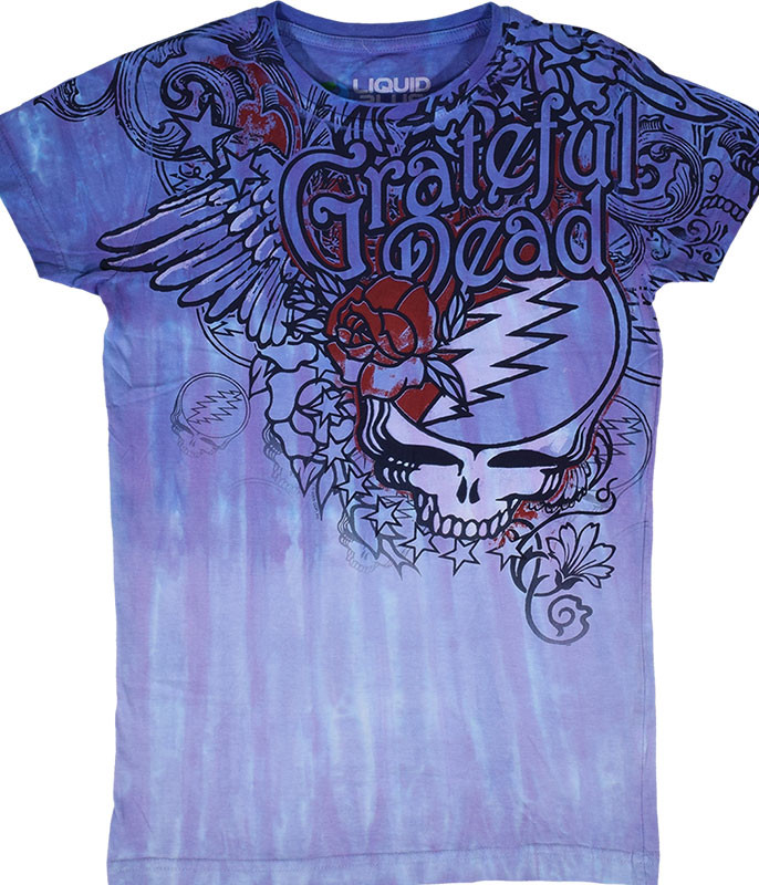 Grateful Dead Dead Flowers Tie-Dye Juniors Long Length T-Shirt Tee Liquid Blue