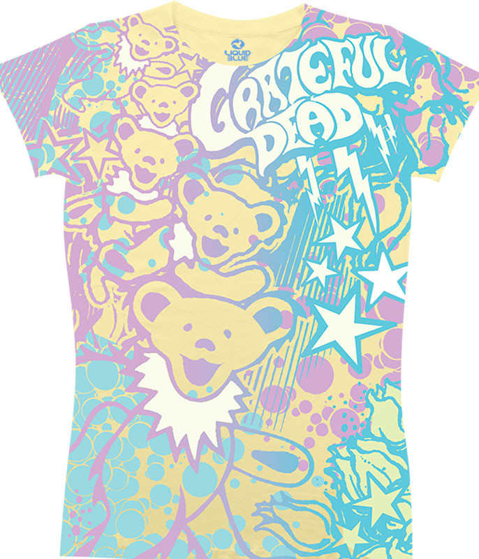 Grateful Dead Bubble Gum Bears Yellow Juniors Long Length T-Shirt Tee Liquid Blue