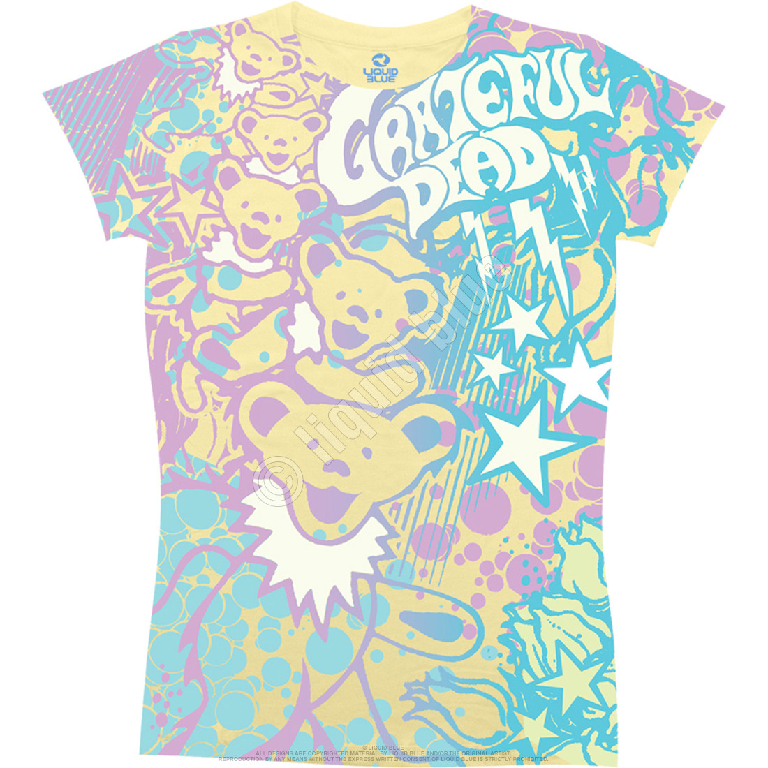 Bubble Gum Bears Yellow Juniors Long Length T-Shirt