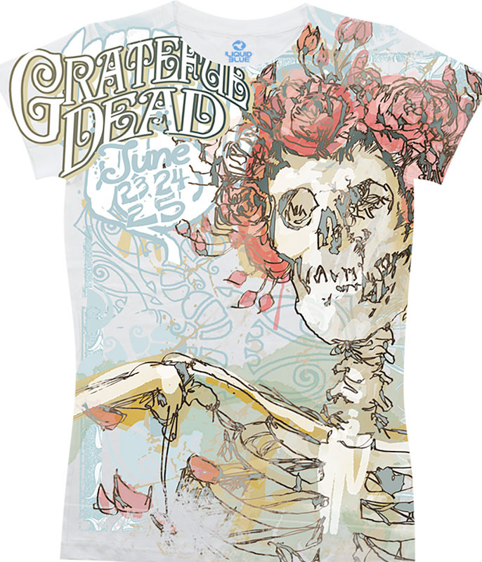 Grateful Dead Classic Bertha White Juniors Long Length T-Shirt Tee Liquid Blue