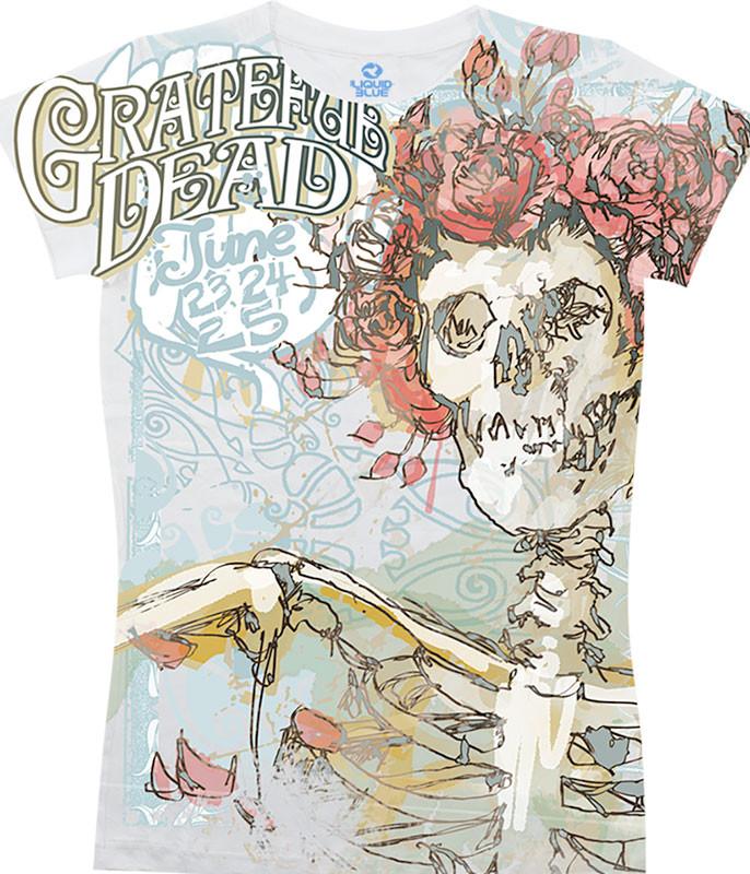 Grateful Dead Classic Bertha White Juniors Long Length T-Shirt Tee Liquid Blue