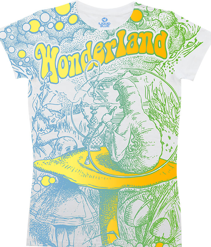 Light Fantasy Go Ask Alice White Juniors Long Length T-Shirt Tee Liquid Blue