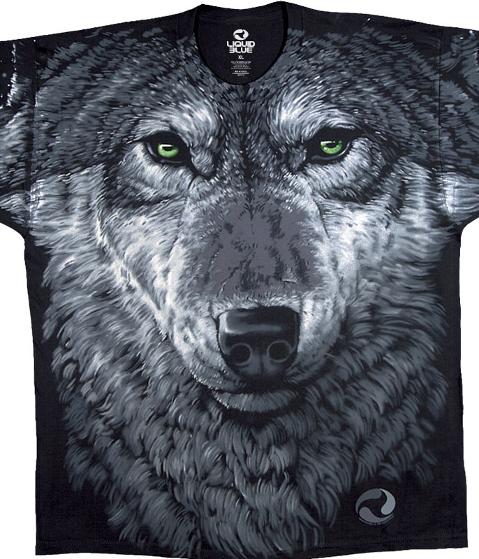 American Wildlife Arctic Wolf Black T-Shirt Tee Liquid Blue
