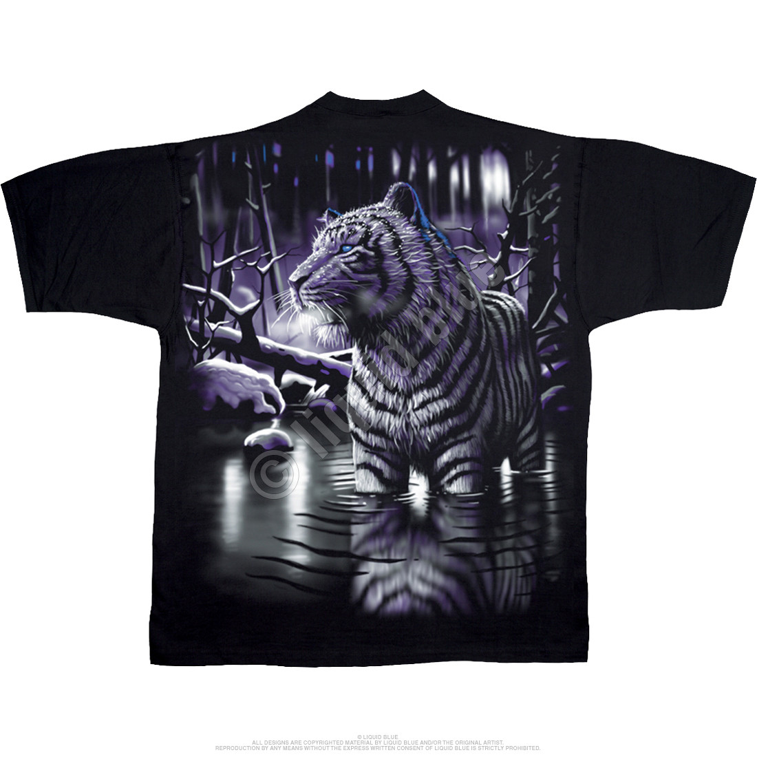 White Tiger Black T-Shirt