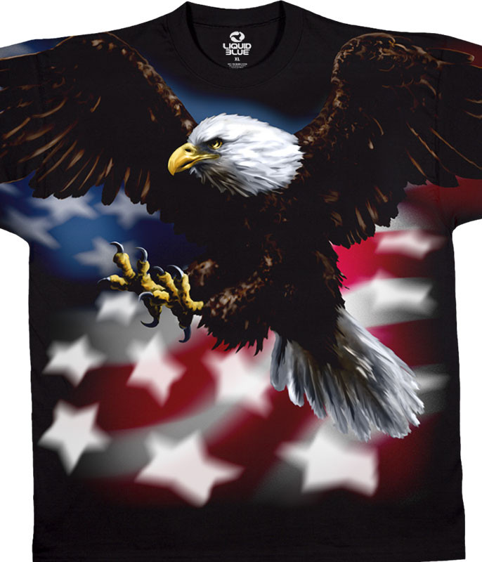 American Wildlife American Eagle Black T-Shirt Tee Liquid Blue