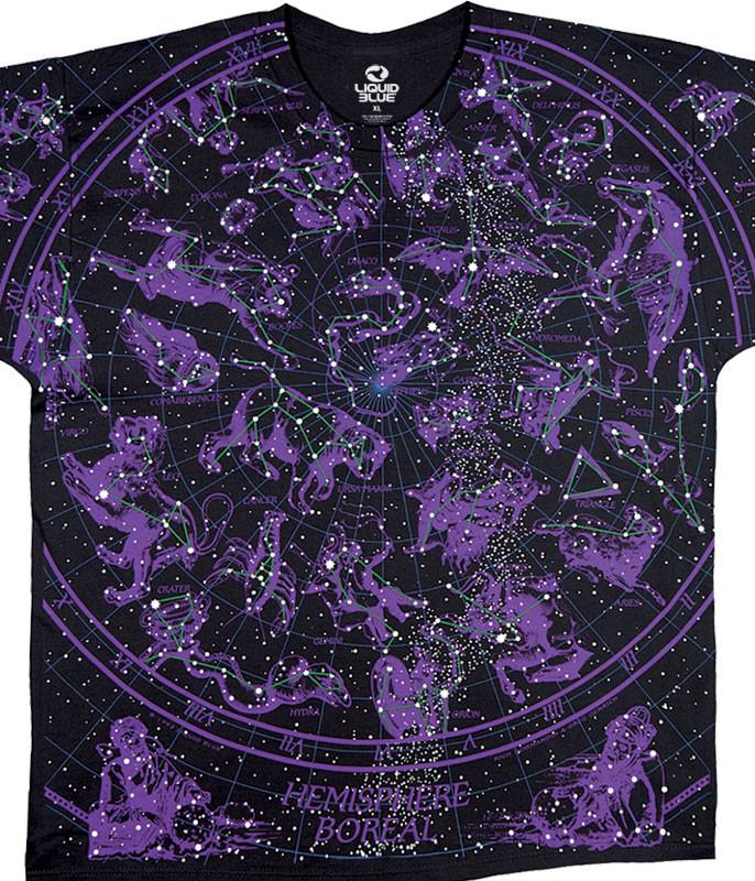 Space Constellation Black T-Shirt Tee Liquid Blue