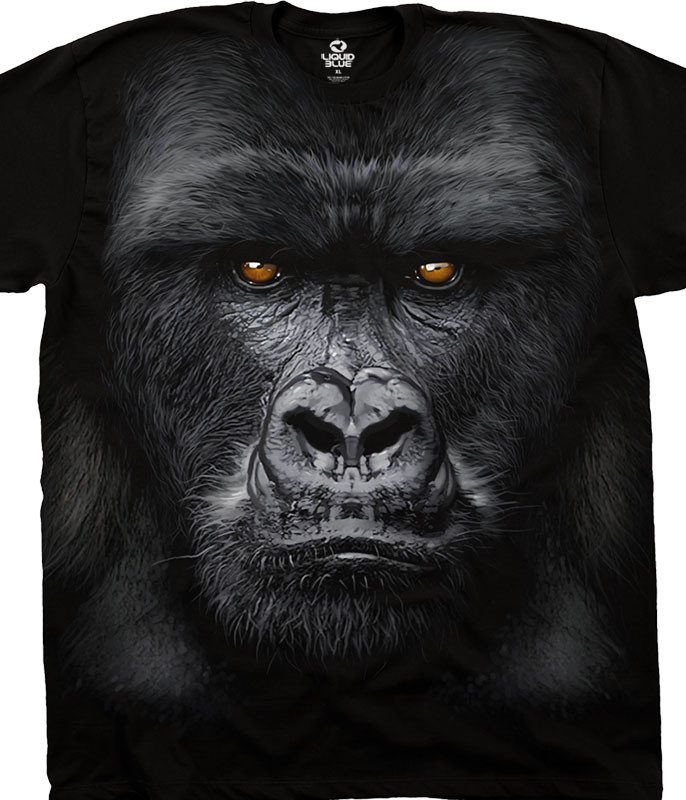 Exotic Wildlife Majestic Gorilla Black Athletic T-Shirt Tee Liquid Blue