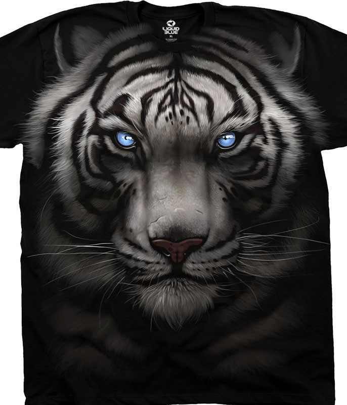 Exotic Wildlife Majestic White Tiger Black Athletic T-Shirt Tee Liquid Blue
