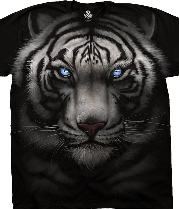 Exotic Wildlife Majestic White Tiger Black Athletic T-Shirt Tee Liquid Blue