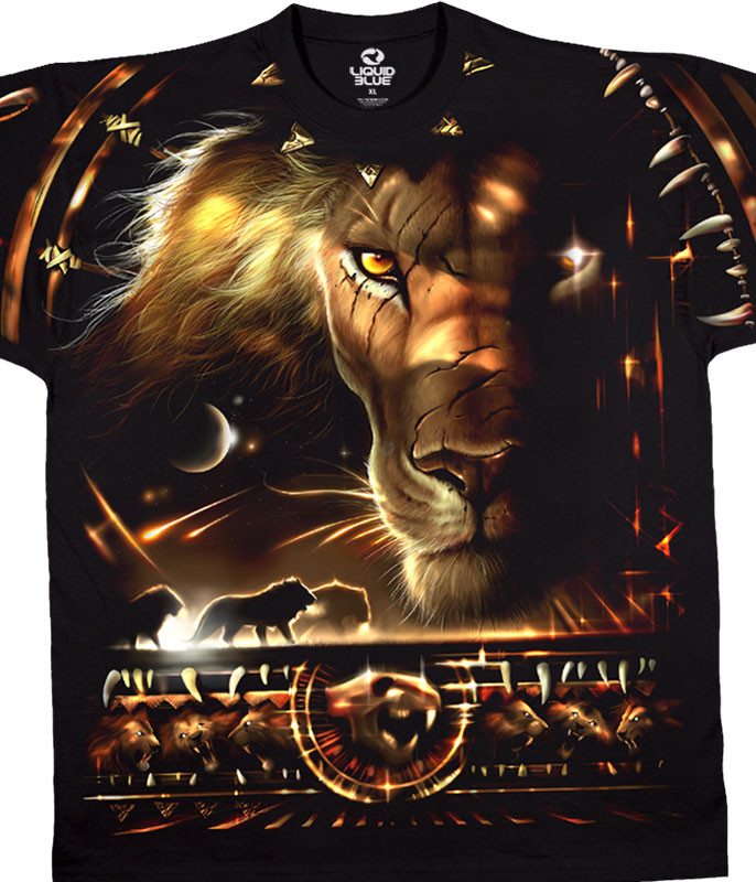 Exotic Wildlife Tribal Lion Black T-Shirt Tee Liquid Blue