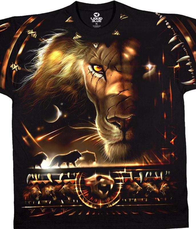 Exotic Wildlife Tribal Lion Black T-Shirt Tee Liquid Blue
