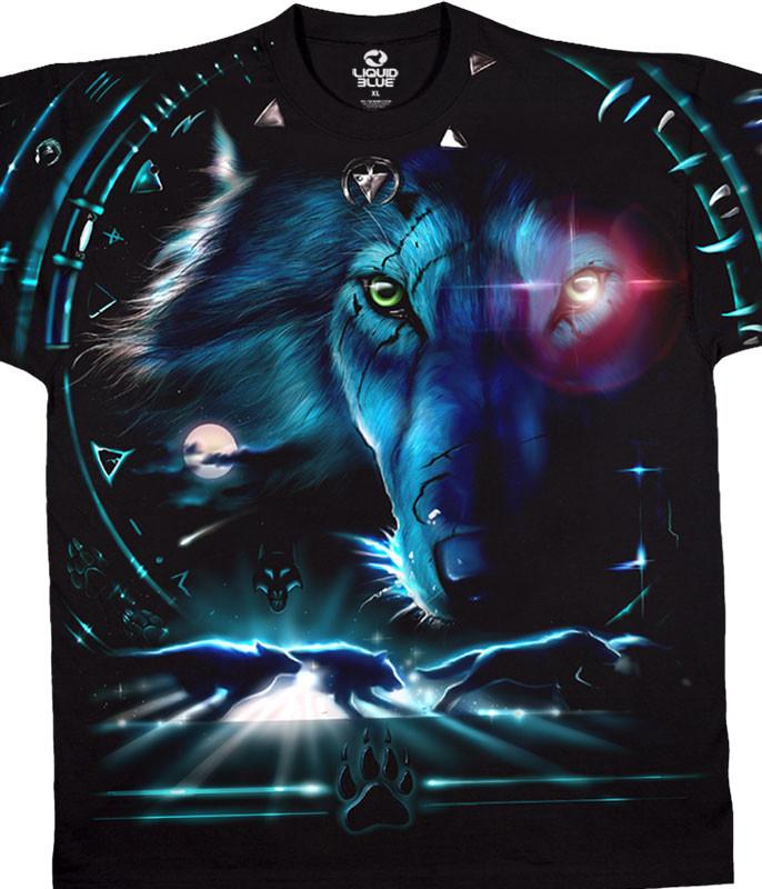 American Wildlife Tribal Wolf Black T-Shirt Tee Liquid Blue