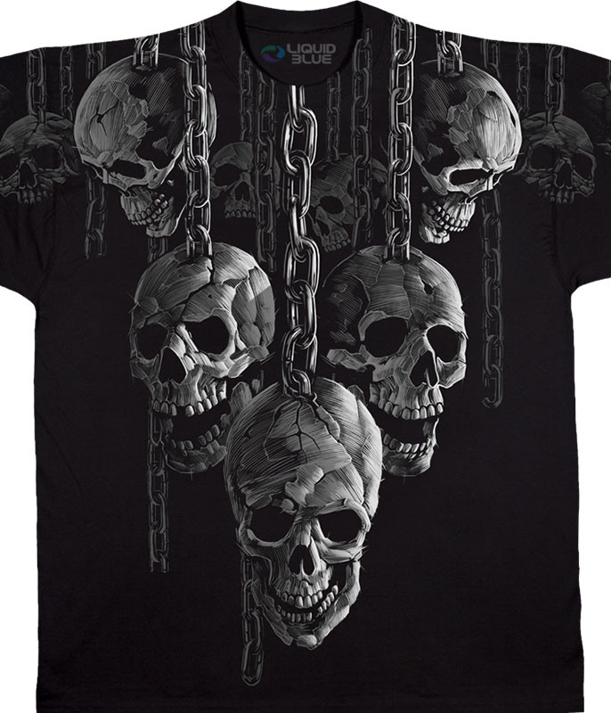 Skulls Hanging Out Black T-Shirt Tee Liquid Blue