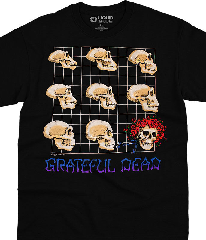 Grateful Dead Evolution Black T-Shirt Tee Liquid Blue