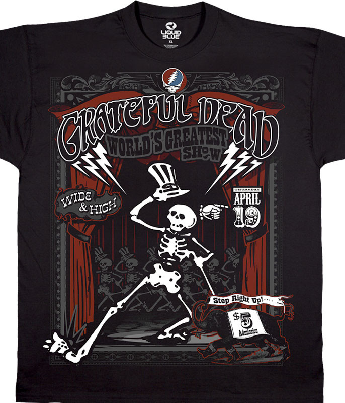Grateful Dead Show Time Black Athletic T-Shirt Tee Liquid Blue