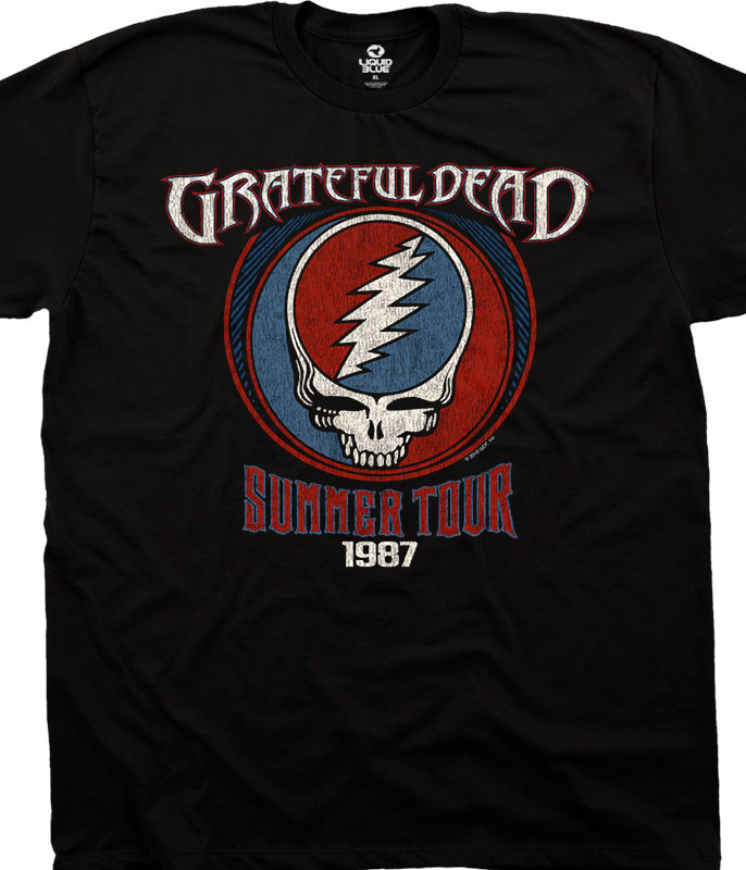 Grateful Dead Summer 87 Black T-Shirt Tee Liquid Blue