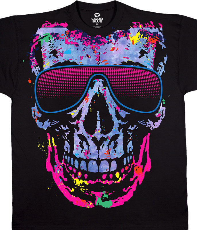 Skulls Shady Character Black Athletic T-Shirt Tee Liquid Blue