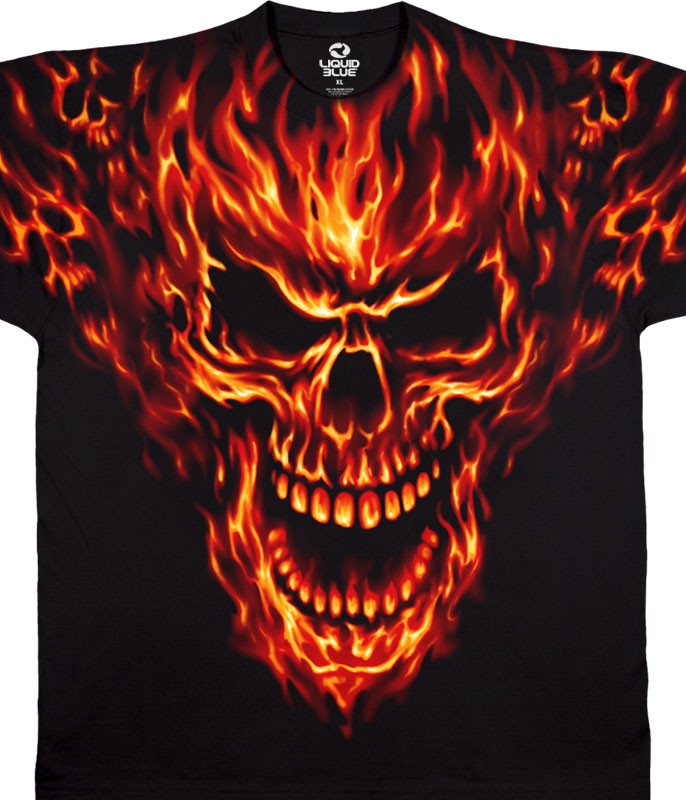 Skulls Raging Inferno Black T-Shirt Tee Liquid Blue
