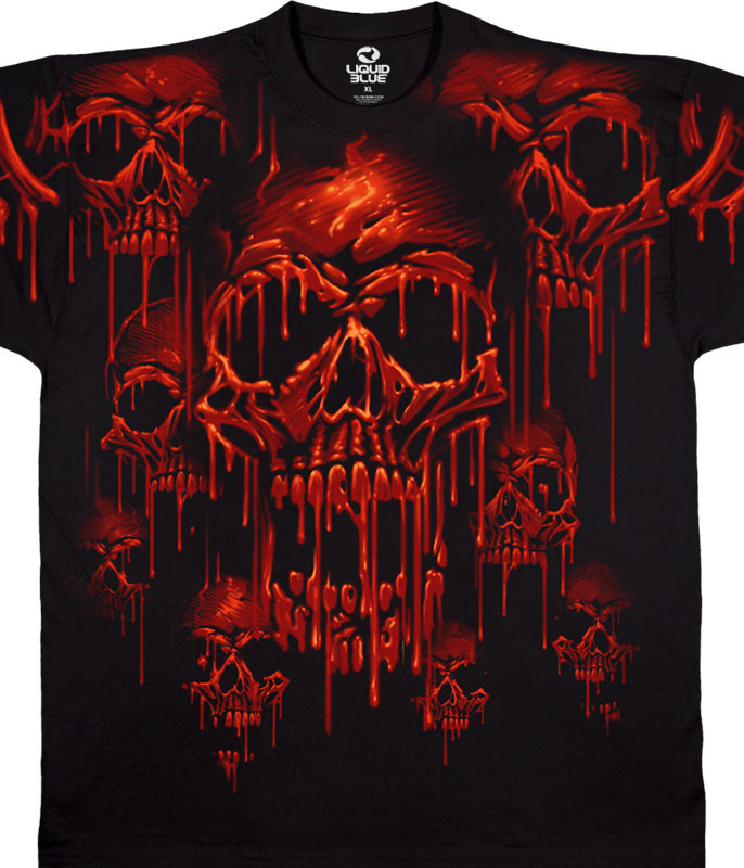 Skulls Acid Rain Black T-Shirt Tee Liquid Blue