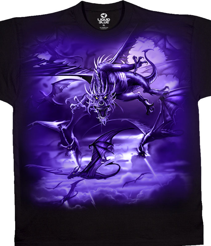 Dark Fantasy The Swarm Black T-Shirt Tee Liquid Blue