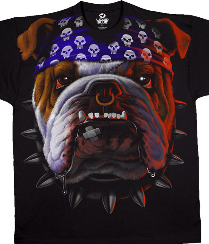 Biker Tuff Dog Black T-Shirt Tee Liquid Blue