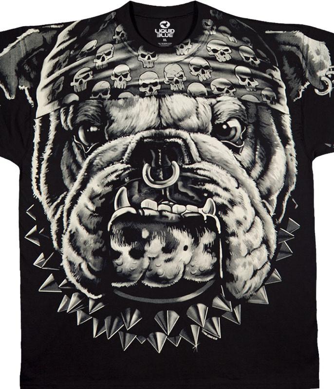 Biker Cats Suck Bulldog Black T-Shirt Tee Liquid Blue
