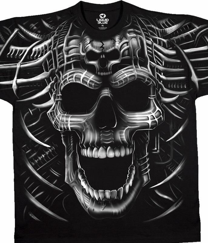 Skulls Psycho Skull Black T-Shirt Tee Liquid Blue