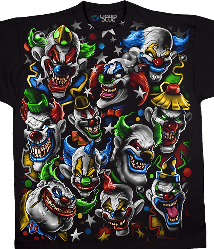 Street Life Colored Clowns Black T-Shirt Tee Liquid Blue