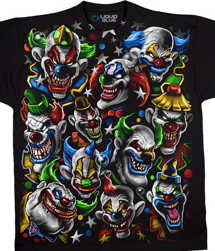 Street Life Colored Clowns Black T-Shirt Tee Liquid Blue
