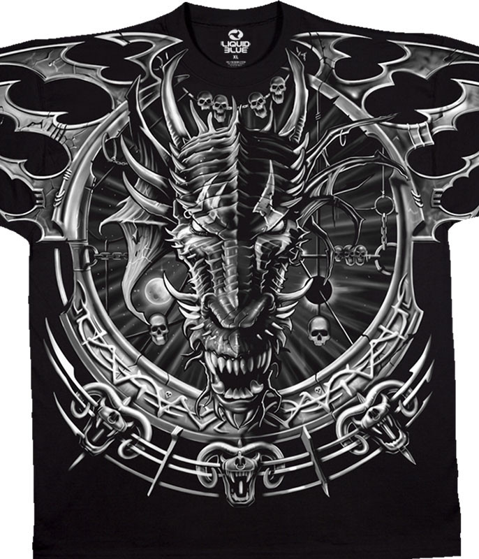 Dark Fantasy Dragon Catcher Black T-Shirt Tee Liquid Blue