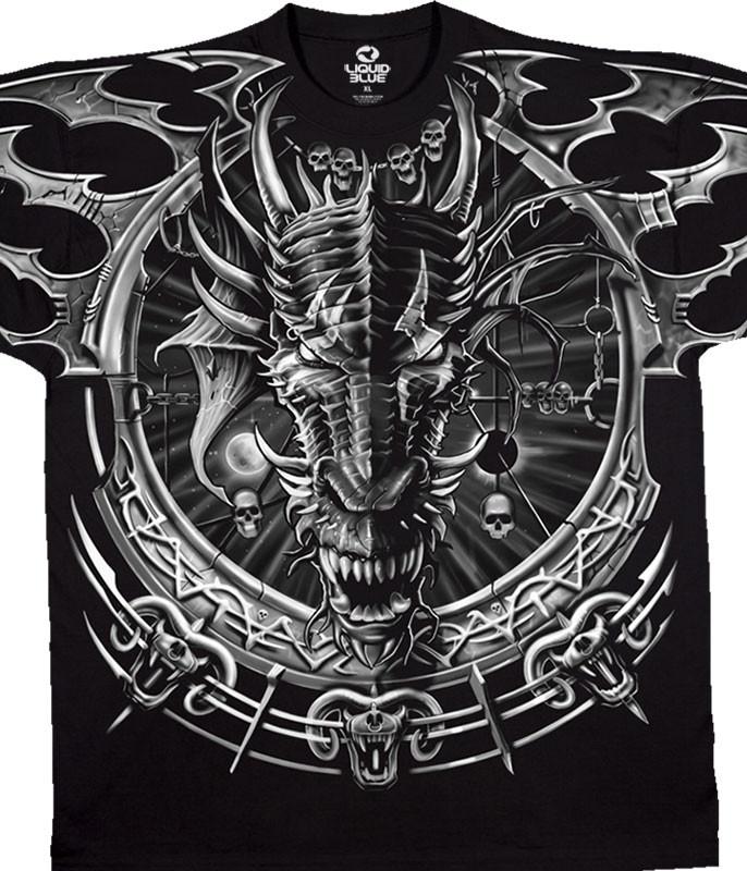Dark Fantasy Dragon Catcher Black T-Shirt Tee Liquid Blue